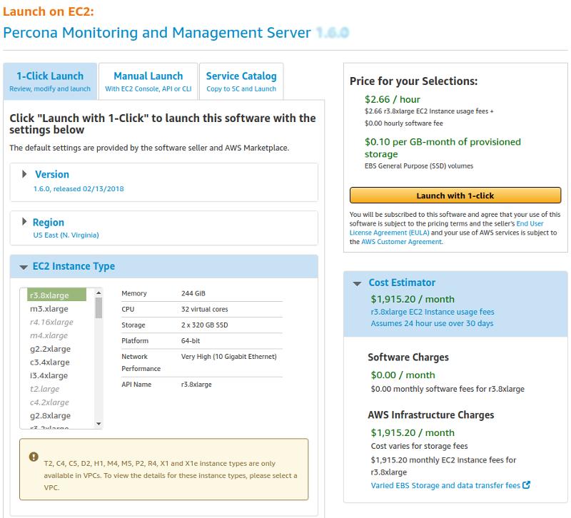 Running PMM Server Using AWS Marketplace — Percona
